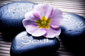 Relax, soul, body stones and flower